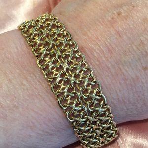 14k wide link bracelet